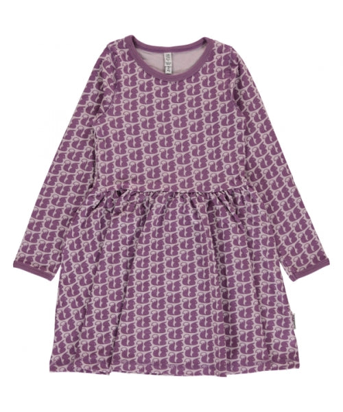 Maxomorra Squirrel Print Long Sleeve Spin Dress