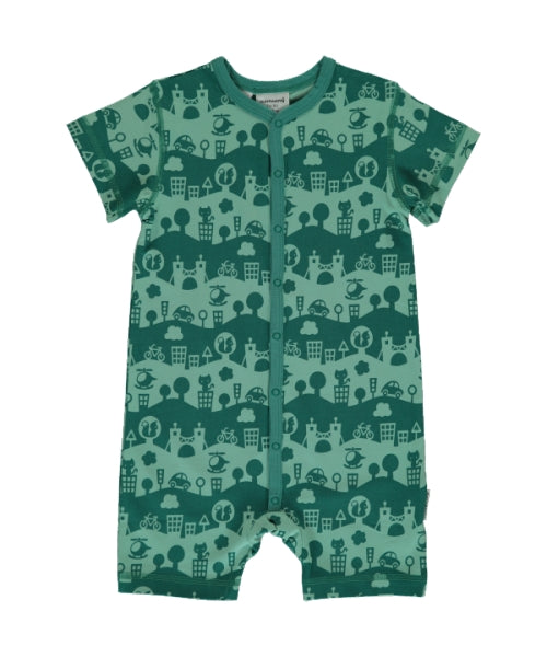 Maxomorra City Landscape Print Short Sleeve Button Rompersuit
