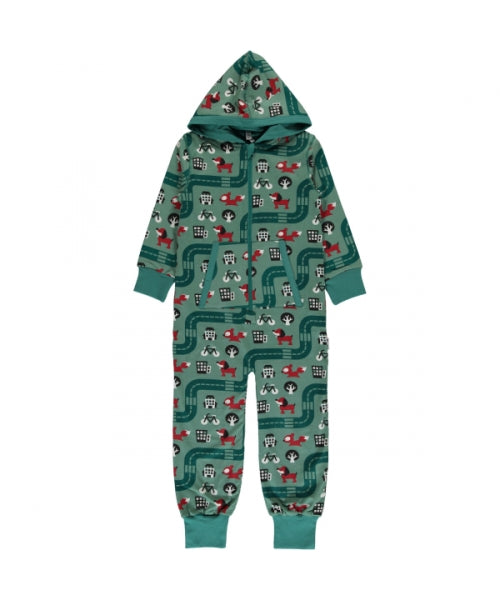 Maxomorra Big City Print Hooded Onesie