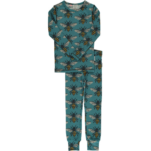 Maxomorra Bee Print Long Sleeve Pyjamas Set Slim Fit
