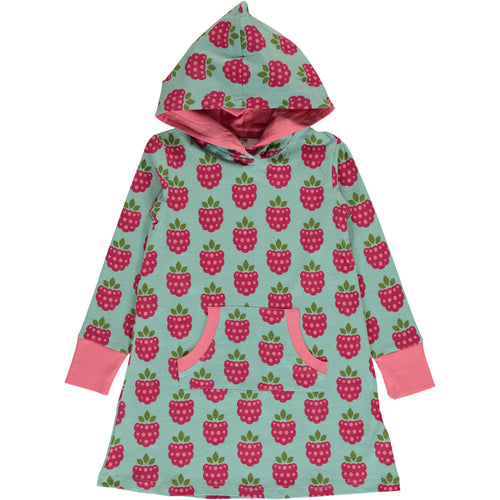 Maxomorra Raspberry Print Long Sleeve Hooded Sweat Dress