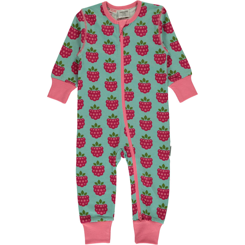 Maxomorra Raspberry Print Long Sleeve Zip Rompersuit