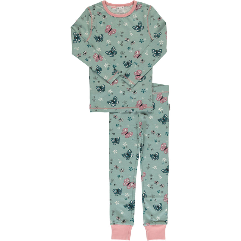Maxomorra Butterfly Print Long Sleeve Pyjamas Set Slim Fit