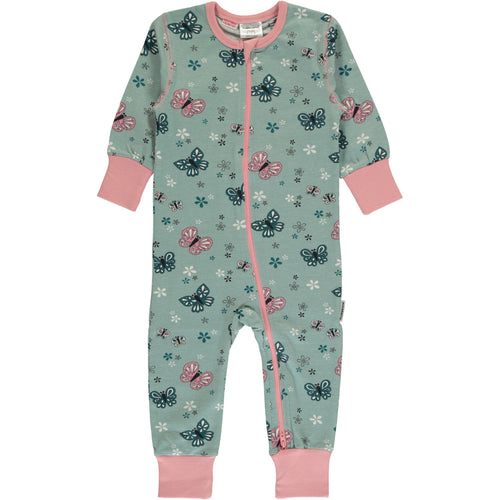 Maxomorra Butterfly Print Long Sleeve Zip Rompersuit