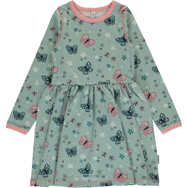Maxomorra Butterfly Print Long Sleeve Spin Dress