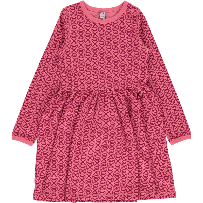 Maxomorra Ladybug Print Long Sleeve Spin Dress