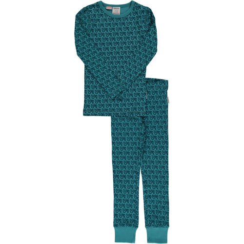 Maxomorra Tractor Print Long Sleeve Pyjamas Set Slim Fit