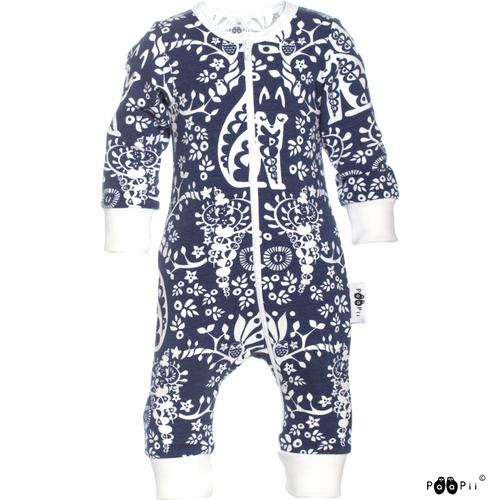 LULLA Blueberry Zip Sleepsuit - Mielikki print by PaaPii
