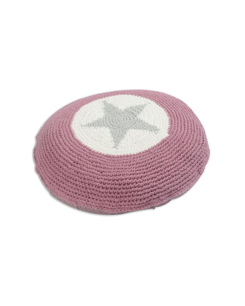 Pink Crocheted Star Cushion