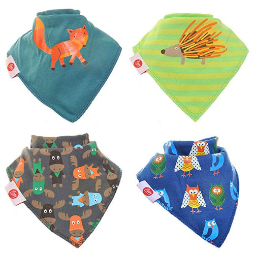 Zippy Baby Bandana Dribble Bib 4 pack Woodland Animals