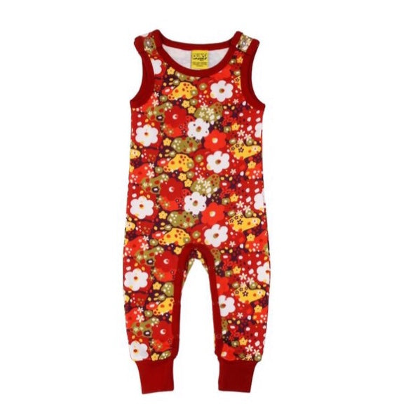 Red Pompeian Organic Cotton Dungarees