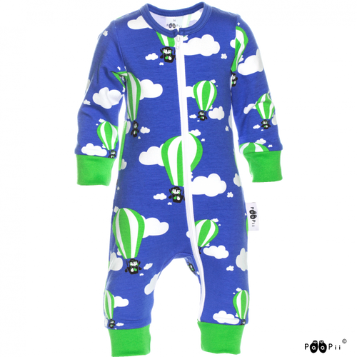 LULLA Blue Zip Sleepsuit - Hot Air Balloons print by PaaPii