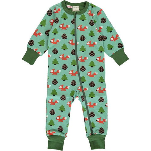 Maxomorra Busy Squirrel Print Long Sleeve Zip Rompersuit