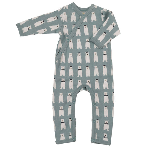 Organic Cotton Polar Bear Print Blue Romper