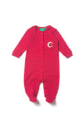 Rasberry Pointelle Organic Fairtrade Cotton Babygrow