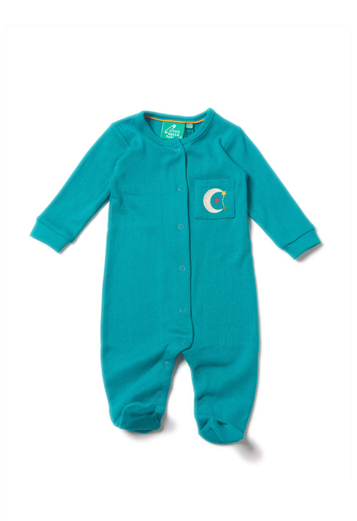 Peacock Blue Pointelle Organic Cotton Babygrow Organic baby clothes Online