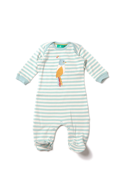 Paradise Bird Appliqué Babygrow From little green radicals Ireland babygrow.ie organic baby clothes