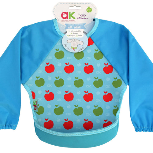 Bibetta Feeding Bib - UltraBib with Raglan Sleeves - Annabel Karmel Blue Apples