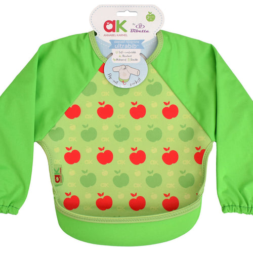 Bibetta Feeding Bib - UltraBib with Raglan Sleeves - Annabel Karmel Green Apples