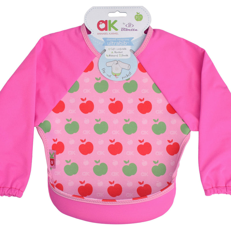 Bibetta Feeding Bib - UltraBib with Raglan Sleeves - Annabel Karmel Pink Apples