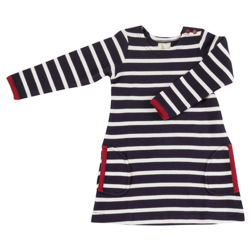 Organic Cotton Deep Indigo and White Stripe Long Sleeve Breton Dress