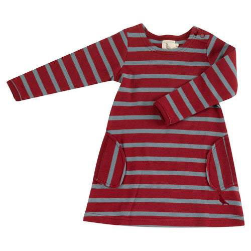 Organic Cotton Red and Smoke Blue Stripe Long Sleeve Breton Dress