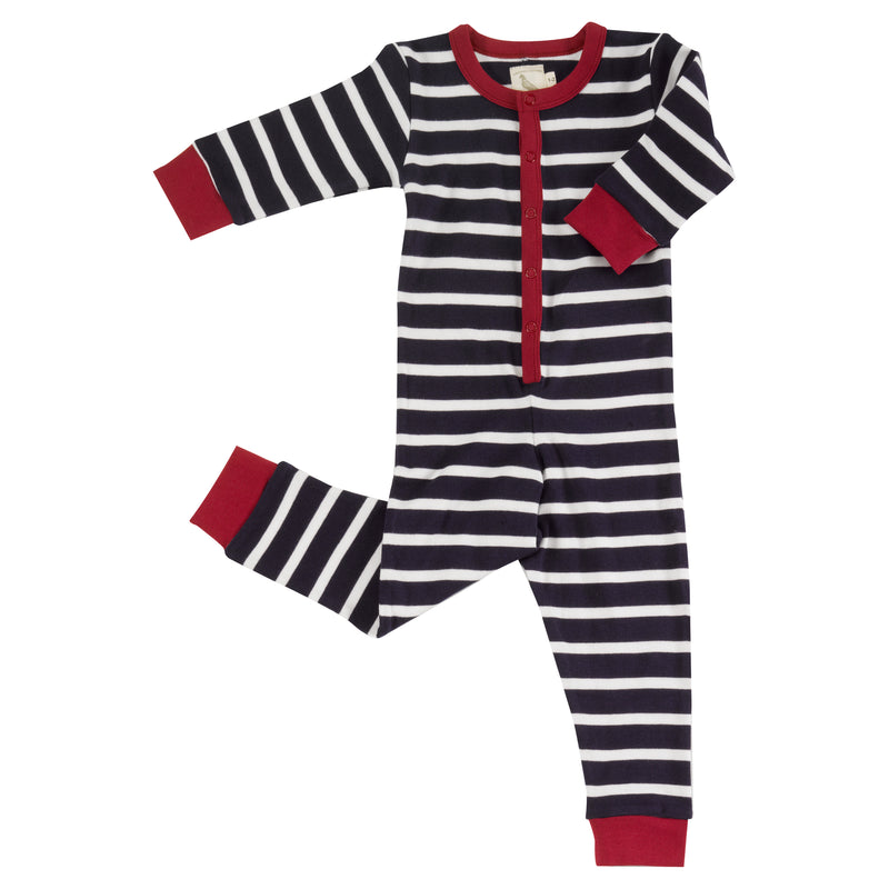 Indigo and White Stripe Organic Cotton Onesie
