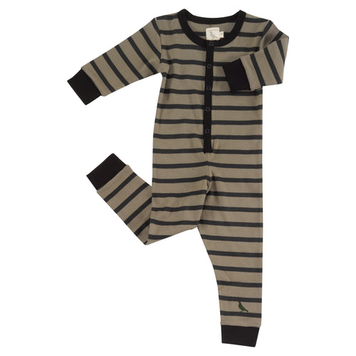 Olive and Black Stripe Organic Cotton Onesie