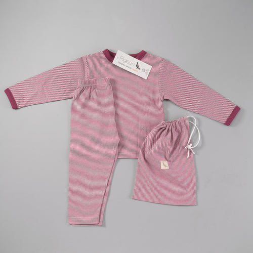 Fine Stripe Organic Cotton Pyjamas in a Bag