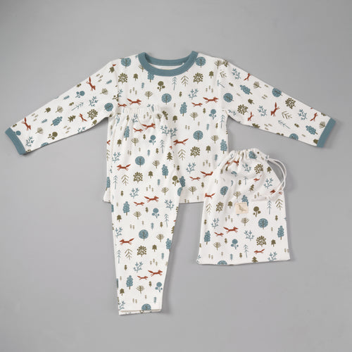 Nordic Forest Print Organic Cotton Pyjamas in a Bag