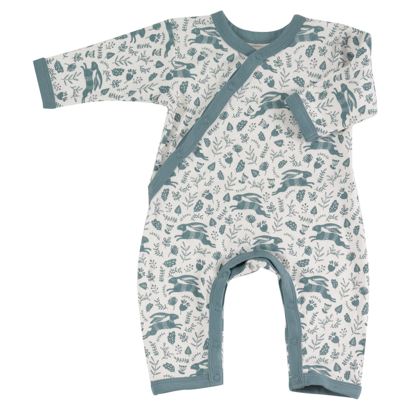 Beautiful Blue Hares print Organic Cotton Romper.