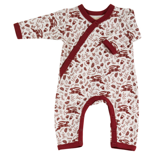 Organic Cotton Red Hare Print Romper