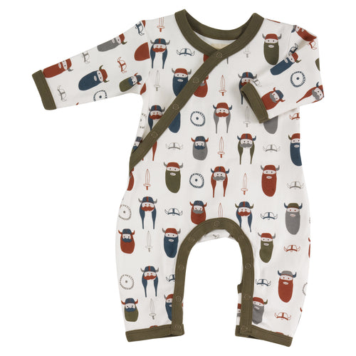 Organic Cotton Viking Print White Romper