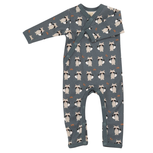 Organic Cotton Raccoon Print Teal Romper
