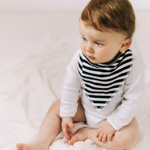 Organic Cotton Babygrowie Bandana Dribble Bib Classic Black Stripe