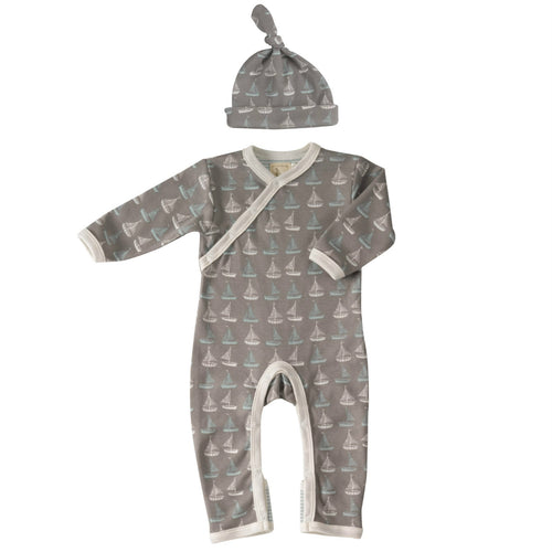 Seaside Boat Romper & Knotted Hat Gift Set for Boys