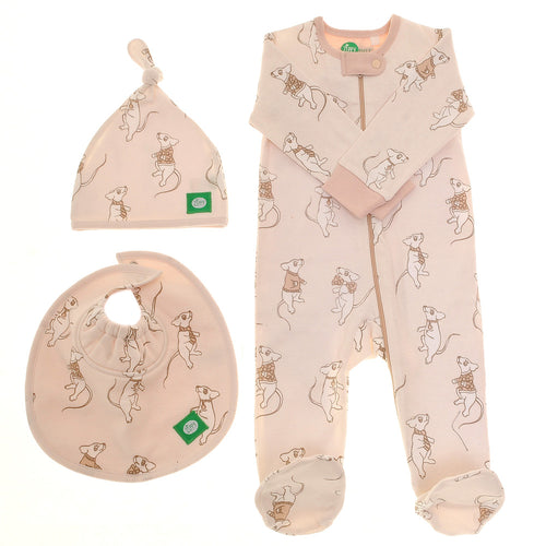 Ziggle Baby Unisex Zip All-in-one, Hat and Bib Cute Mice About Town