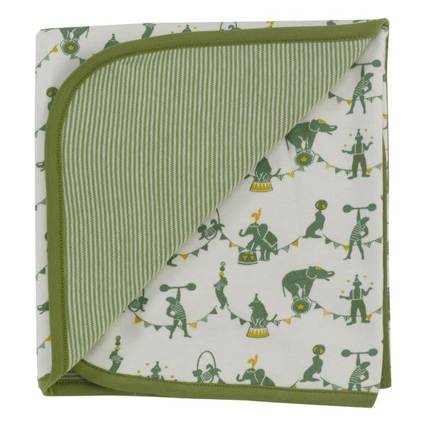 Green Organic Cotton Reversible Circus Blanket