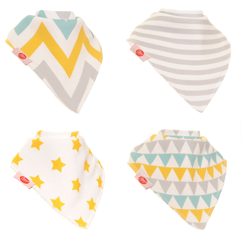 Zippy Baby Gold & Silver Bandana Dribble Bib 4 pack