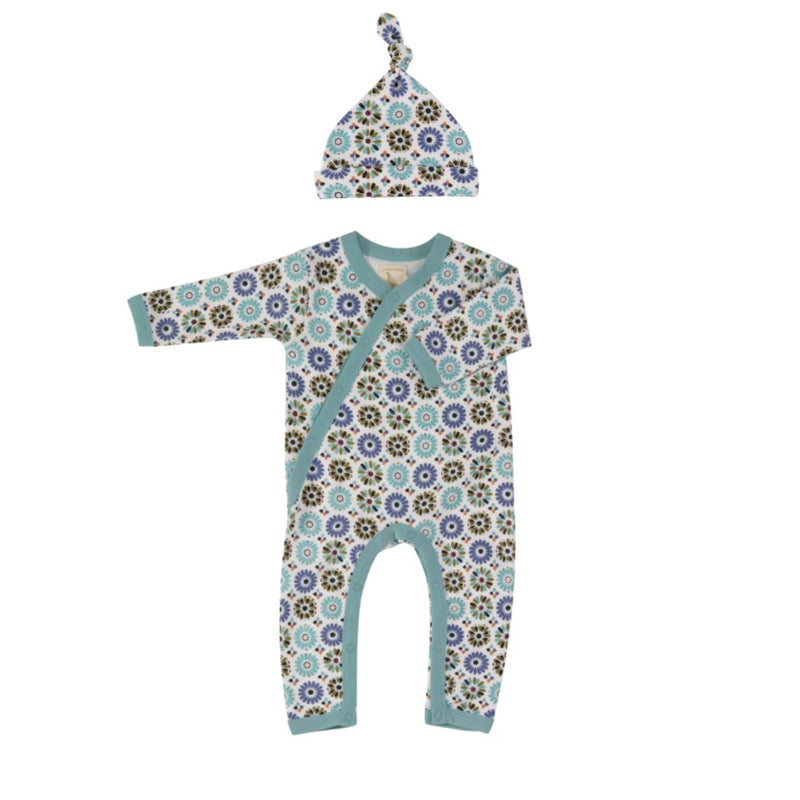 Organic Cotton Cordoba Print Romper & Knotted Hat Gift Set