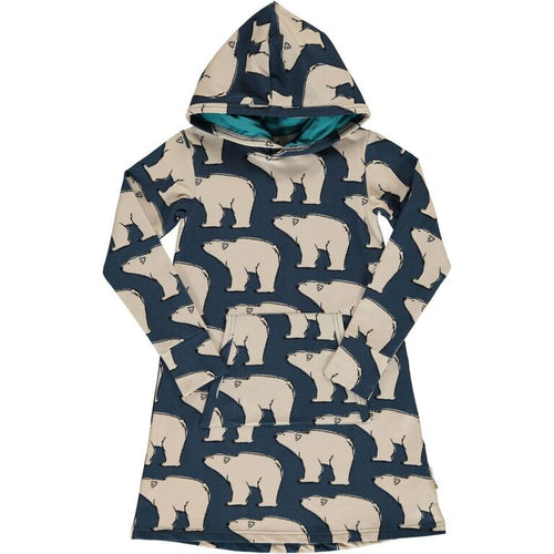 Maxomorra Polar Bear Print Long Sleeve Hooded Dress