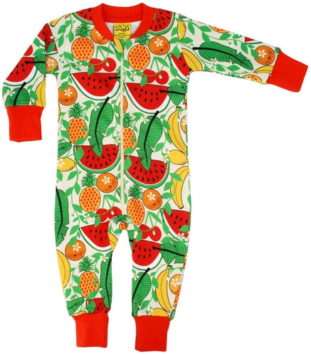 Tropical Punch Red Vanilla Organic Cotton Zip Sleepsuit