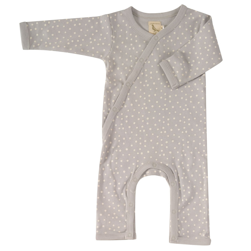 Organic Cotton Grey Dotted Kimono Romper from Pigeon Organics