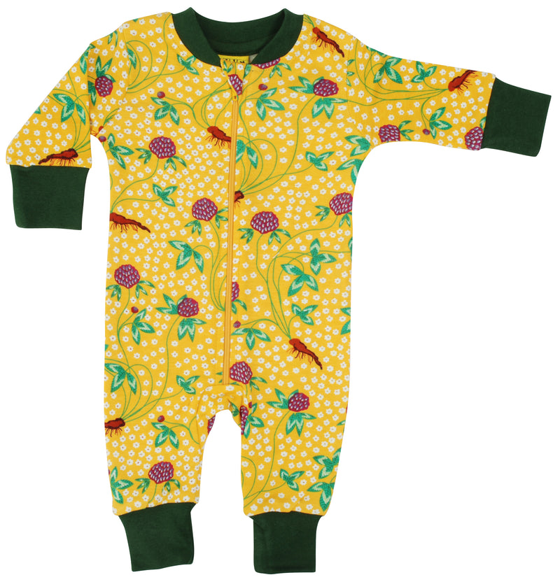 DUNS Red Clover print Organic Cotton Zip Sleepsuit