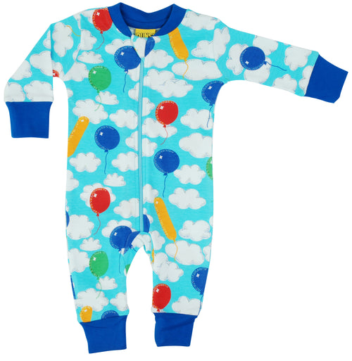 DUNS Clouds and Balloons print Organic Cotton Zip Sleepsuit