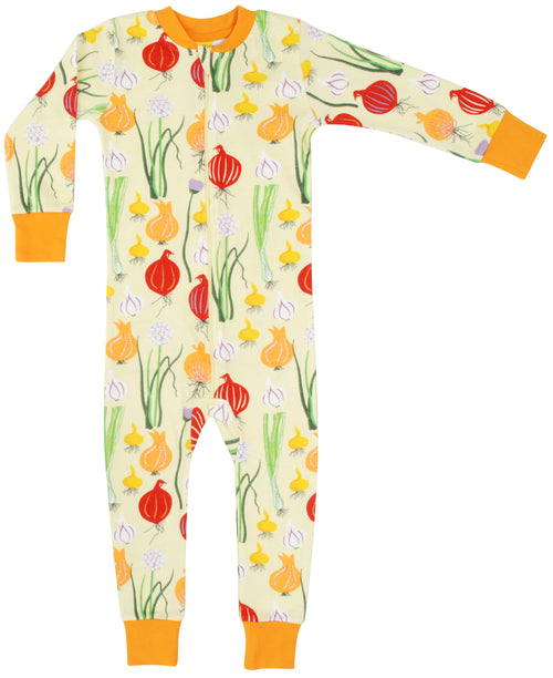 DUNS Pale Green Garlic and Chive print Organic Cotton Zip Sleepsuit