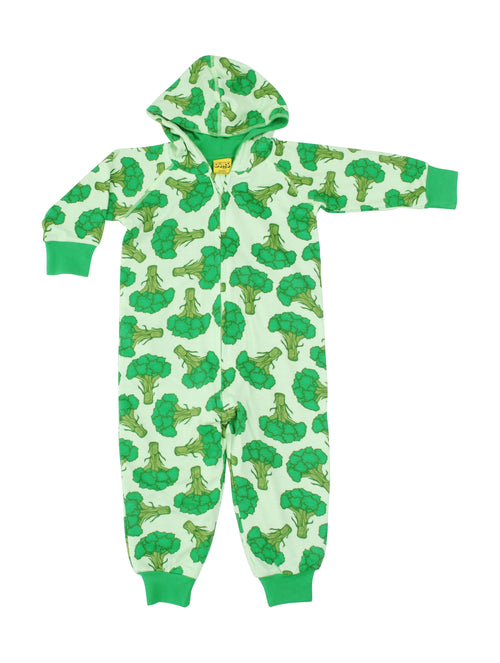 DUNS Broccoli Print Organic Cotton Lined Zip Sleepsuit with Hood