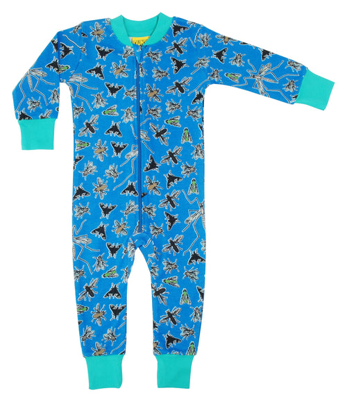Duns Fly Print Blue Organic Cotton Zip Sleepsuit