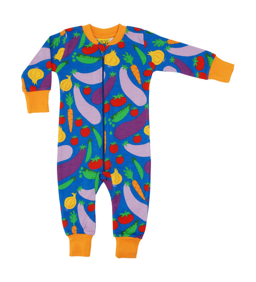 DUNS Cultivate Print Blue Organic Cotton Zip Sleepsuit