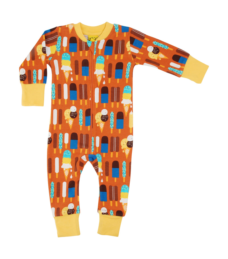 DUNS Ice Cream Print Pumpkin Organic Cotton Zip Sleepsuit